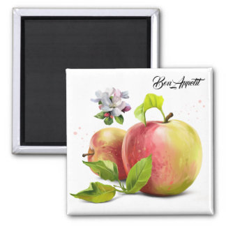 Apples, flowers and splashes magnet