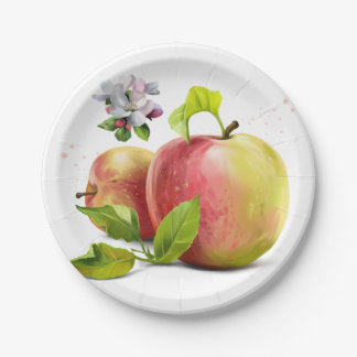 Apples, flowers and splashes paper plate