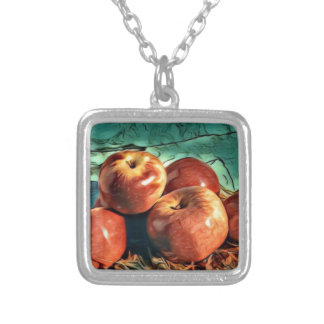 Apples on Display Silver Plated Necklace