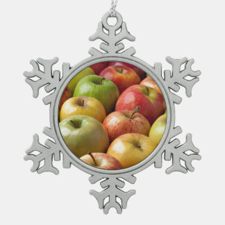 Apples - Ripe & Colorful Pewter Snowflake Decoration