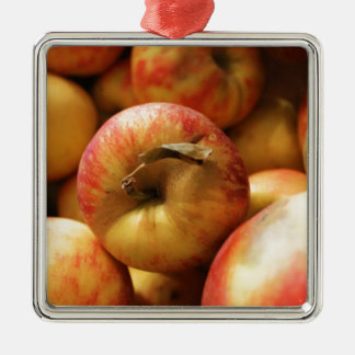 Apples Silver-Colored Square Decoration