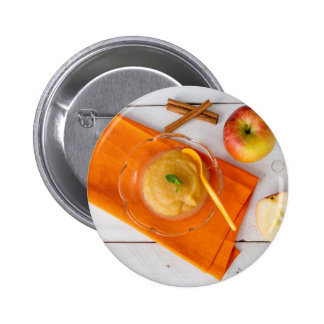 Applesauce with cinnamon and orange spoon 6 cm round badge