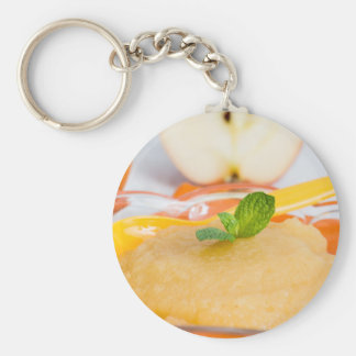 Applesauce with cinnamon and orange spoon basic round button key ring