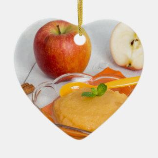 Applesauce with cinnamon and orange spoon ceramic heart decoration