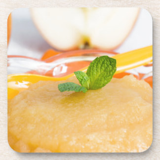Applesauce with cinnamon and orange spoon coaster