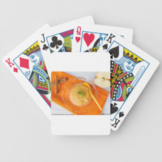 Applesauce with cinnamon and orange spoon deck of cards