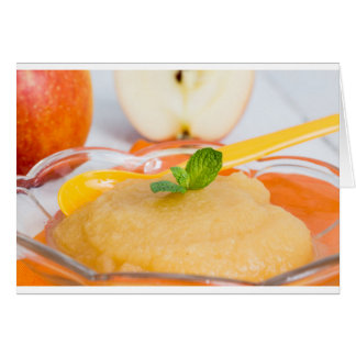 Applesauce with cinnamon and orange spoon greeting card
