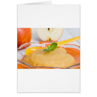 Applesauce with cinnamon and orange spoon greeting card