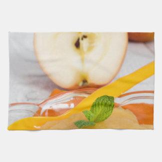 Applesauce with cinnamon and orange spoon hand towels