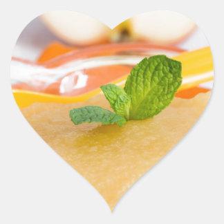 Applesauce with cinnamon and orange spoon heart sticker