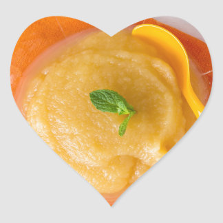 Applesauce with cinnamon and orange spoon heart sticker