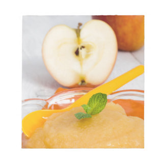 Applesauce with cinnamon and orange spoon notepad