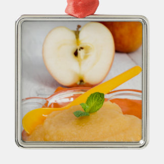 Applesauce with cinnamon and orange spoon Silver-Colored square decoration
