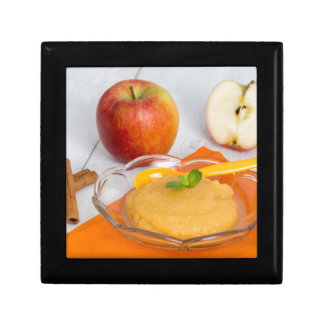Applesauce with cinnamon and orange spoon small square gift box