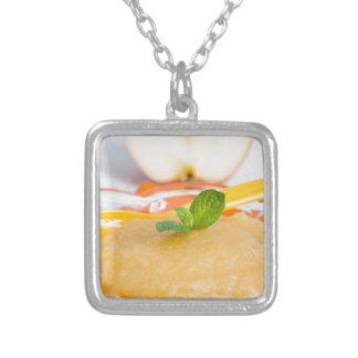 Applesauce with cinnamon and orange spoon square pendant necklace