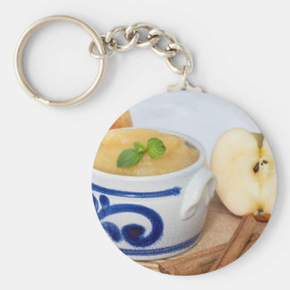 Applesauce with cinnamon in stoneware bowl basic round button key ring