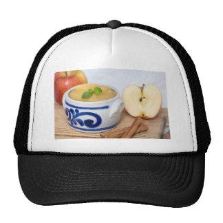 Applesauce with cinnamon in stoneware bowl cap