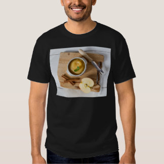Applesauce with cinnamon in stoneware bowl shirt