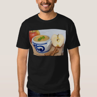Applesauce with cinnamon in stoneware bowl shirts