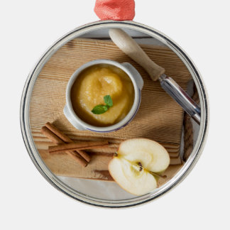 Applesauce with cinnamon in stoneware bowl Silver-Colored round decoration