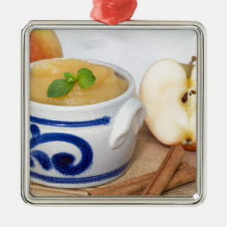 Applesauce with cinnamon in stoneware bowl Silver-Colored square decoration