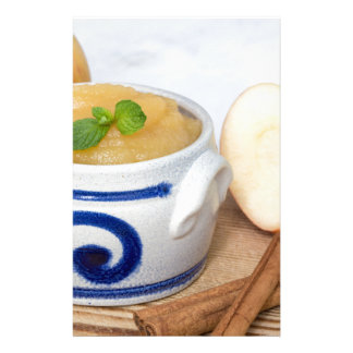 Applesauce with cinnamon in stoneware bowl stationery