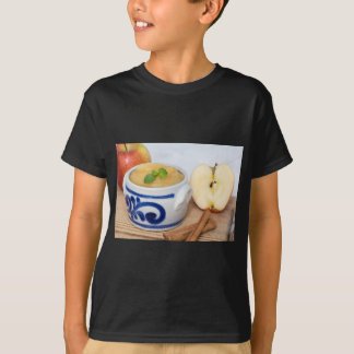 Applesauce with cinnamon in stoneware bowl t shirt