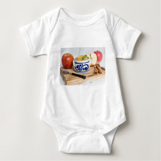 Applesauce with cinnamon in stoneware bowl tshirts