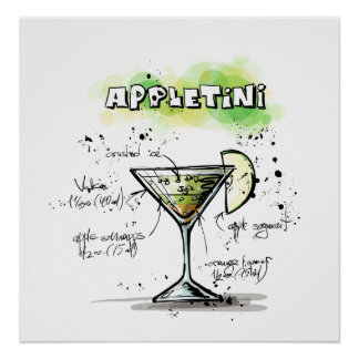 AppleTini Drink Recipe Design Poster