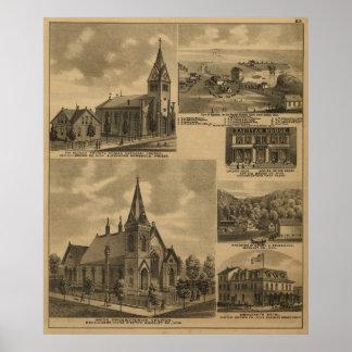 Appleton Minn Landmarks 1883 Antique Landscape Poster