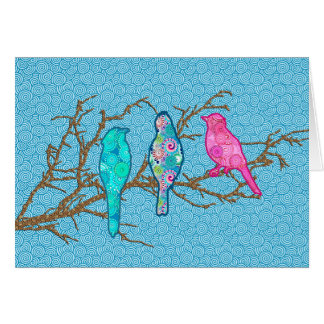 Applique Birds on a Branch, Sky Blue Multi Card
