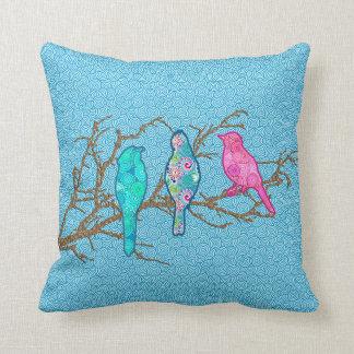 Applique Birds on a Branch, Sky Blue Multi Cushion