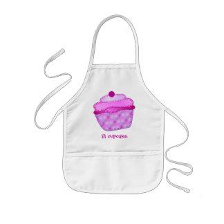 Applique Cupcake Kids Apron - Mauve and Pink