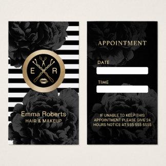 Appointment | Modern Stripes Black Floral Salon