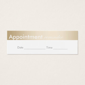 Appointment Reminder Classy Gold Border Mini Business Card