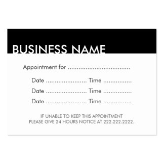 Appointment Reminder Plain Black & White Pack Of Chubby Business Cards