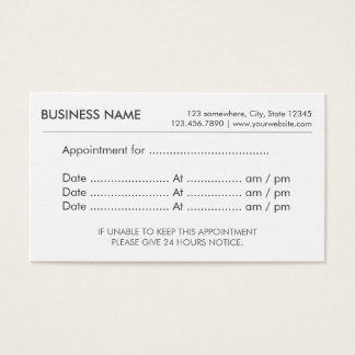 Appointment Simple Plain Reminder Business Card