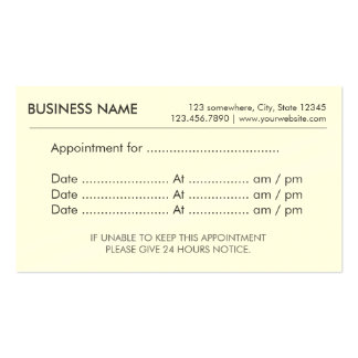 Appointment Simple Plain Reminder Pack Of Standard Business Cards