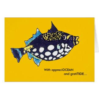 AppreciOCEAN GratiTIDE cartoon fish thank you card