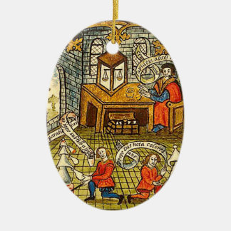 Apprentices in a Medieval Laboratory Ceramic Oval Decoration