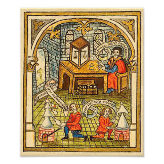 Apprentices in a Medieval Laboratory Photo Print