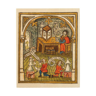 Apprentices in a Medieval Laboratory Wood Canvases