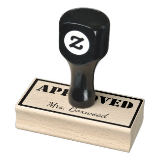 Approved by Custom Name Rubber Stamp