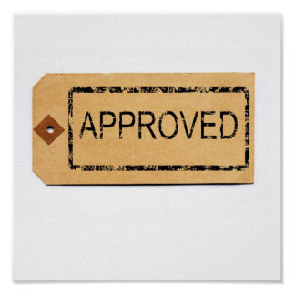 Approved Rubber Stamp on Parcel Tag Print