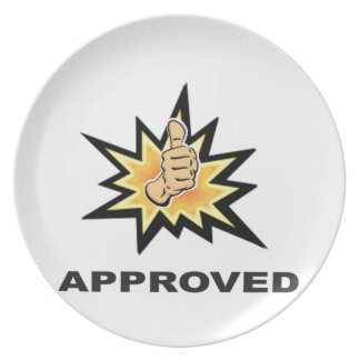approved thumbs yeah plate