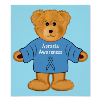 Apraxia Awareness Bear in a Sweater with a Ribbon Poster