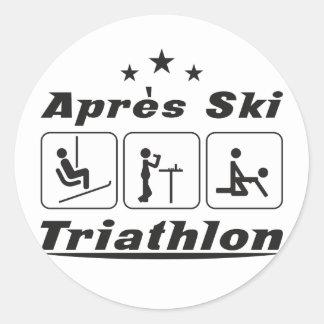 Apres Ski Triathlon Round Sticker