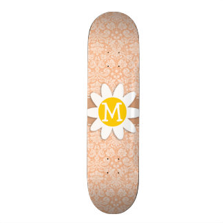 Apricot Color Damask Pattern Daisy Skateboard Decks