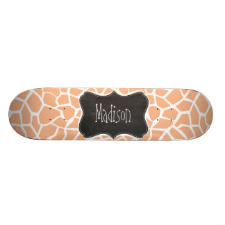 Apricot Color Giraffe Print; Vintage Chalkboard Skate Board Decks