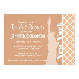 Apricot Color Quatrefoil; New York 13 Cm X 18 Cm Invitation Card